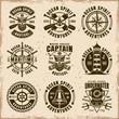 Nautical set of nine vector vintage emblems