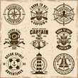 Maritime set of vector emblems on dirty background
