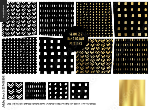 Poster Artificiel Hand drawn Patterns - a group set of eight abstract seamless patterns - black, gold and white. Geometrical lines, dots and squares. - black