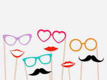Photo Booth Props Female Lips, Moustache And Glasses