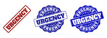 URGENCY Grunge Stamp Seals In Red And Blue Colors. Vector URGENCY Labels With Grunge Texture. Graphic Elements Are Rounded Rectangles, Rosettes, Circles And Text Labels.