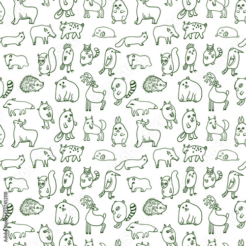 fototapeta na szkło Seamless pattern with cute doodle animals