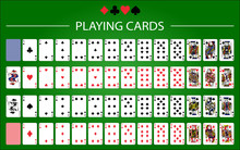 Poker Set With Isolated Cards On Green Background.