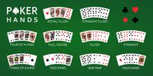 Texas Hold'em Poker Hand Rankings Combination Set Vector.