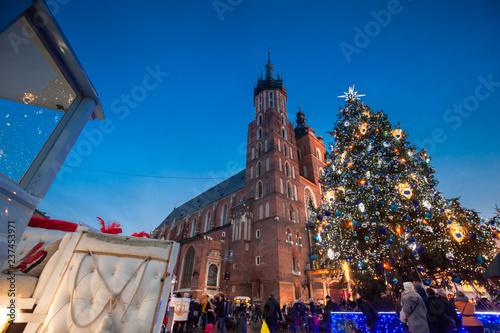 Fototapeta Christmas market in Krakow city on evening obraz