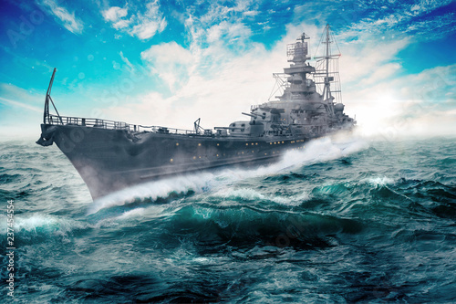 warship goes through the rough atlantic Canvas Print