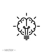 Brain Light Bulb Icon Vector