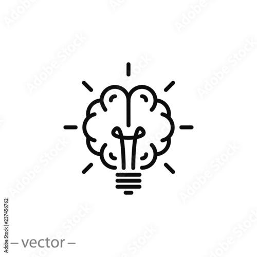 Photo  Brain light bulb icon vector