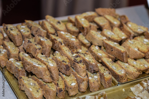 Fotografie, Obraz  Typical Italian Biscuit with Almond: Crumbly Cantuccini from Tuscany