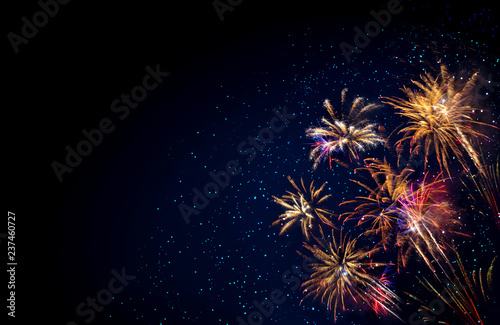 Fotografia Abstract colored firework background . New Year background.
