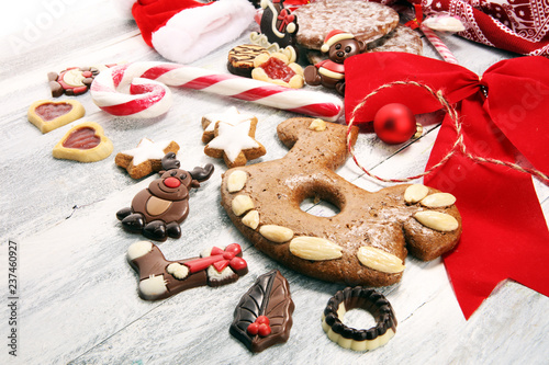 cookies, nuts and gingerbread a christmas bakery concept. xmas cookies