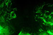 Green Smoke Isolated On Black Background