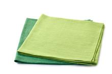 Two Green Folded Textile Napki...
