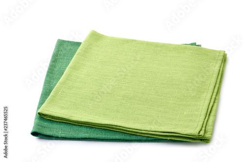 Fototapeta Two green folded textile napkins on white obraz
