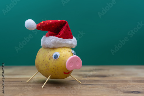 Photo  pig in christmas hat made of potato. symbol of 2019