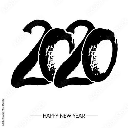 Fototapeta napis zakrzywionym fontem 2020 na tle. Projekt znaku graficznego z napisem szczęśliwego nowego roku. Ilustracja wektorowa obraz