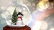 Cute Christmas animation of snowman and Christmas tree in snow globe 4k
