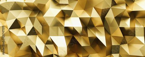 streszczenie złoty kryształ low poly tło, luxery złoty metalik tekstury, panorama, szeroka panoramiczna tapeta wielokątna