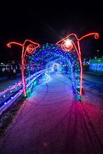 Christmas Lights Decoration Of A Monster Looking Lights Tunnel In Coquitlam, British Columbia, Canada