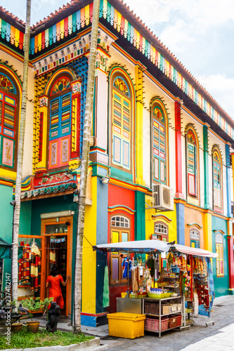Colourful building in Little India, Singapore Fototapete