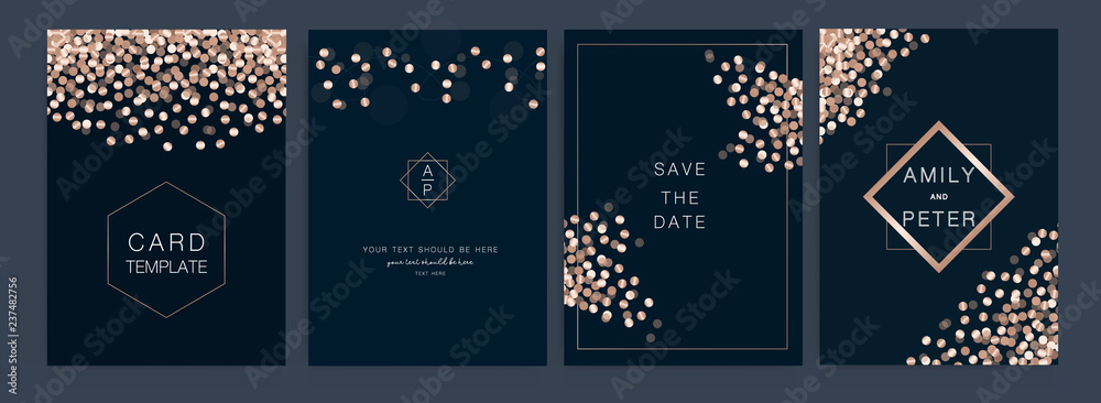 Fototapeta Wedding Invitation, floral invite thank you, rsvp modern card Design  Vector elegant rustic template
