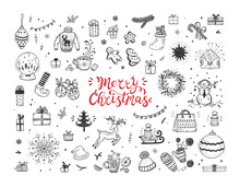Merry Christmas. Holiday Vector Big Set Of Hand Drawn Doodle Christmas Characters And Decorations With Hand Lettering Calligraphic. Xmas Greeting Card Template. Happy Winter Holidays Poster. New Year