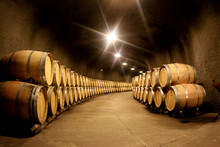 Pile Of Wine Barrels In A Wine...