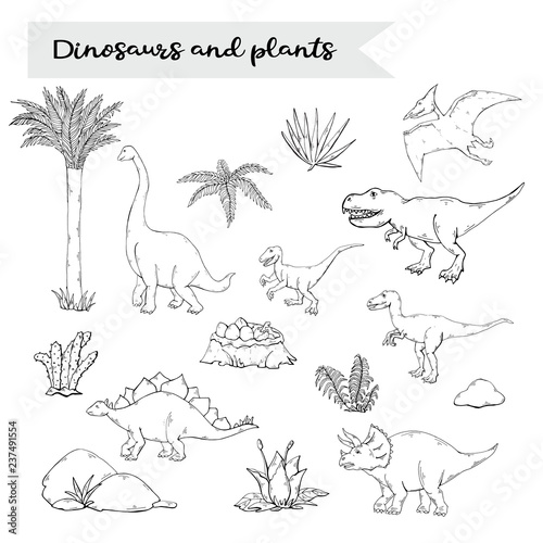 Fototapeta premium Dinosaurus set with plant isolated on a white background.