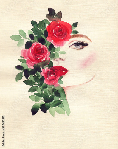 In de dag Aquarel Gezicht beautiful woman and flowers . fashion illustration. watercolor painting