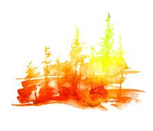 Watercolor Art Illustration. Drawing Of The Red, Yellow, Orange Forest, Pine Tree, Spruce, Cedar. Dark, Dense Forest, Suburban Landscape. A Beautiful Burst Of Paint Orange. Postcard, Logo, Card