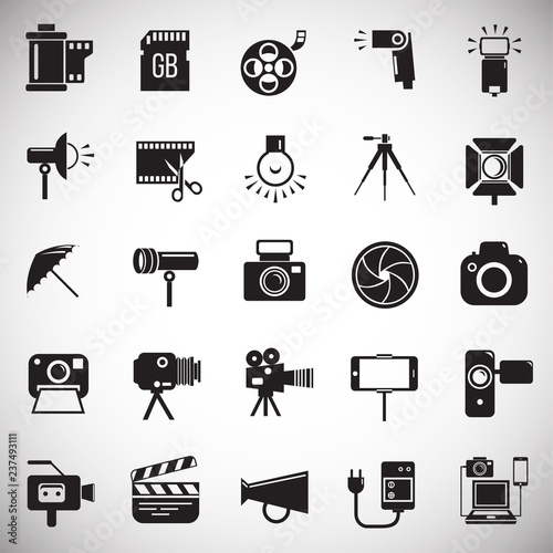 Valokuvatapetti Photography and videography icon set on white background for graphic and web design, Modern simple vector sign
