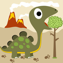 Dinosaur Cartoon On Volcano Background