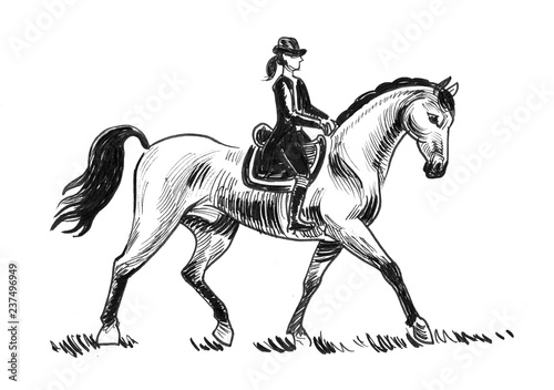 Beautiful lady raiding horse. Ink black and white drawing Poster Mural XXL