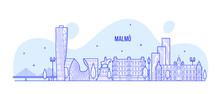 Malmo Skyline Sweden City Buildings Vector Linear