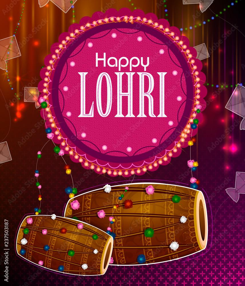 Fotografie, Tablou  Happy Lohri Punjabi religious holiday background for harvesting festival of Indi