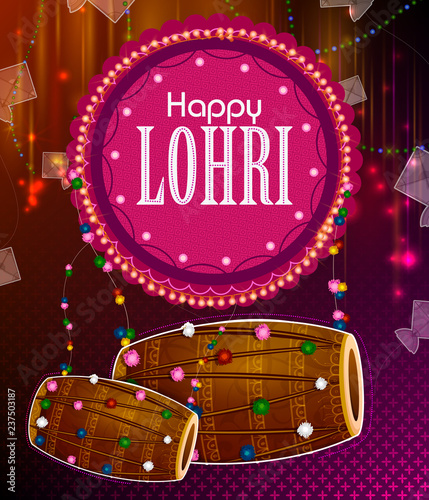 Fényképezés  Happy Lohri Punjabi religious holiday background for harvesting festival of Indi
