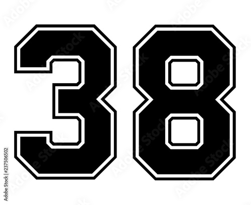 Papel de parede  Classic Vintage Sport Jersey Number 38 in black number on white background for american football, baseball or basketball / logos and t-shirt