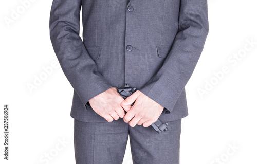Fotografia, Obraz  Man in suit with gun, handgun