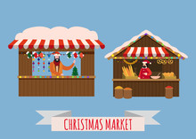 Christmas Market Stalls, Canopy Seller With With New Year Decorations, Gifts. Xmas Bakery, Bread Shops With Bagel, Ciabatta, Baguette And Wreath, Balls, Ate, Decoration. Christmas Fair Wooden Kiosks