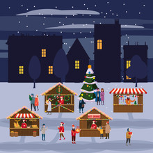 Christmas Market Or Holiday Outdoor Fair On Town Square. Christmas Tree. People Walking Between Decorated Stalls, Canopy Or Kiosks, Buying Snacks,gifts, Decoration And Drinking Hot Coffe, Tea And