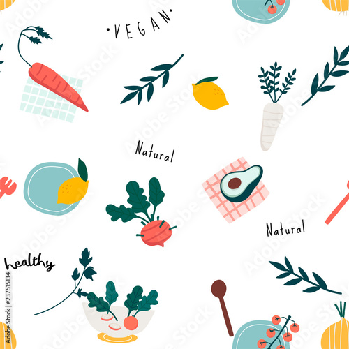 Fotografie, Obraz  Healthy vegan seamless wallpaper vector