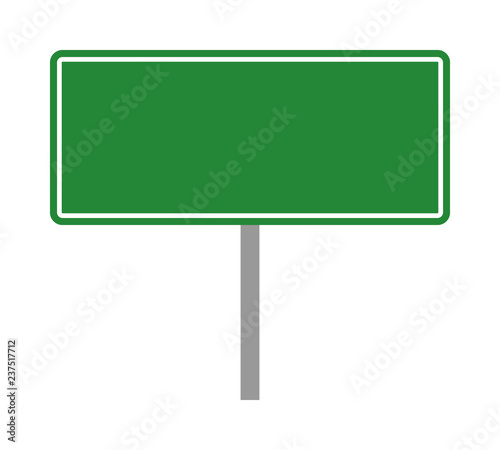 Fotografie, Obraz  Empty green traffic road sign on a pole flat vector illustration for apps and pr