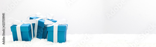 Blue christmas holidays decoration on a white background