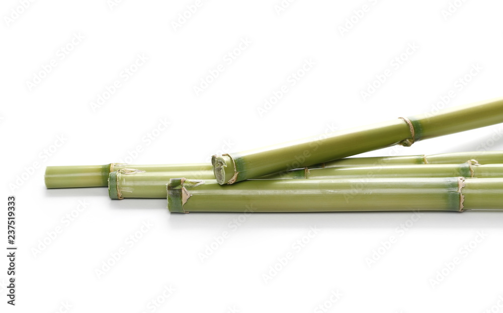 Fototapety, obrazy: Green bamboo sticks isolated on white background, side view