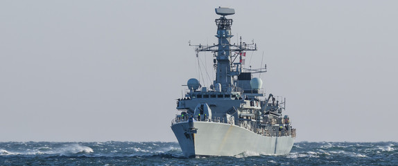 WARSHIP - Frigate on a patrol in the sea