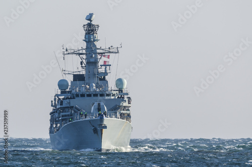 WARSHIP - Frigate on a patrol in the sea Wallpaper Mural