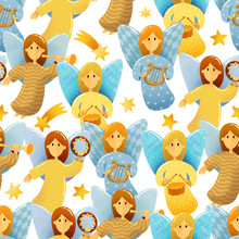 Seamless Pattern Of Little Angels With Wings Hold A Musical Instruments Drawing In Kids Stile On White Background