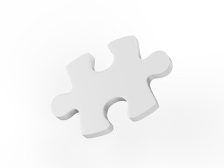 One puzzle piece mock-Up on isolated white background, 3d illustration
