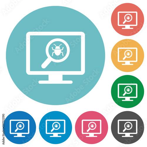 Fotografía  Spyware scanning flat round icons