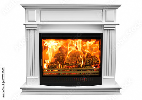 Fotomural Burning white fireplace isolated on white background